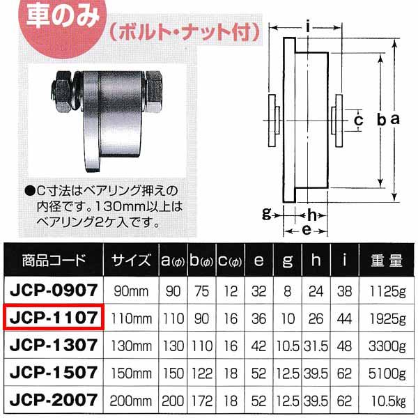 ヨコヅナ 440Cベアリング入 ステンレス重量戸車 トロ車型 車のみJCP-1107 110mm 1個
