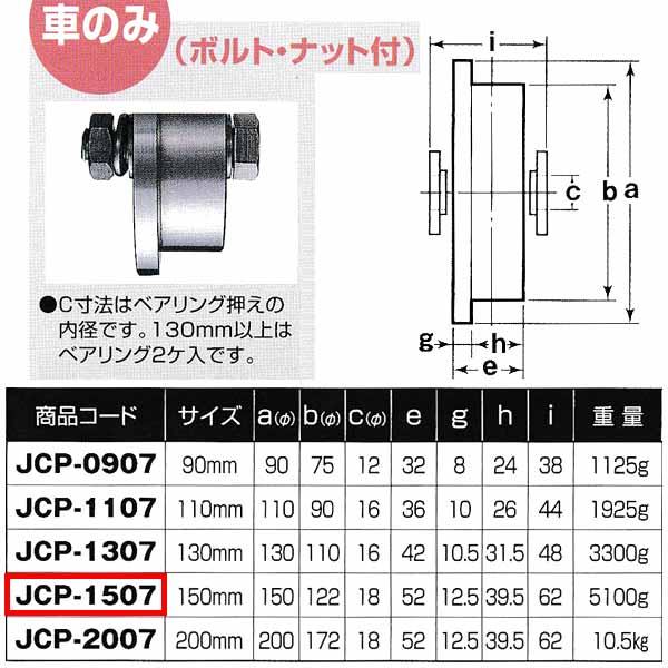 ヨコヅナ 440Cベアリング入 ステンレス重量戸車 トロ車型 車のみJCP-1507 150mm 1個