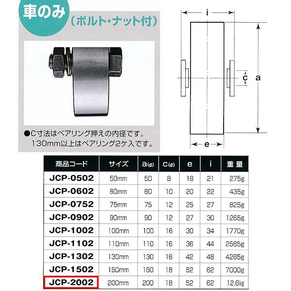 ヨコヅナ 440Cベアリング入 ステンレス重量戸車 平型 車のみJCP-2002 200mm 1個
