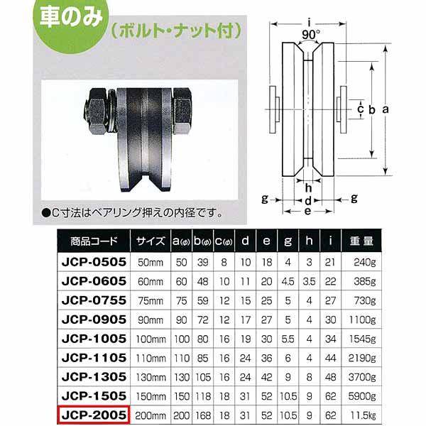 ヨコヅナ 440Cベアリング入 ステンレス重量戸車 V型 車のみJCP-2005 200mm 1個