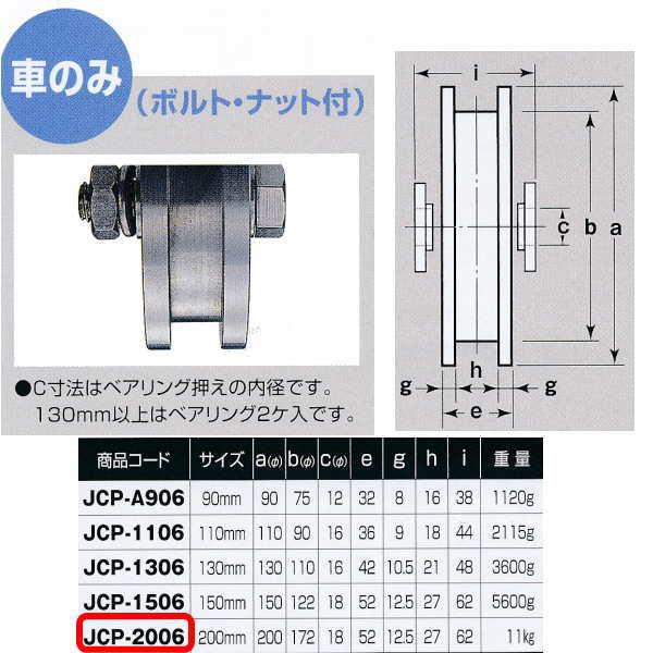 ヨコヅナ 440Cベアリング入 ステンレス重量戸車 H型 車のみJCP-2006 200mm 1個