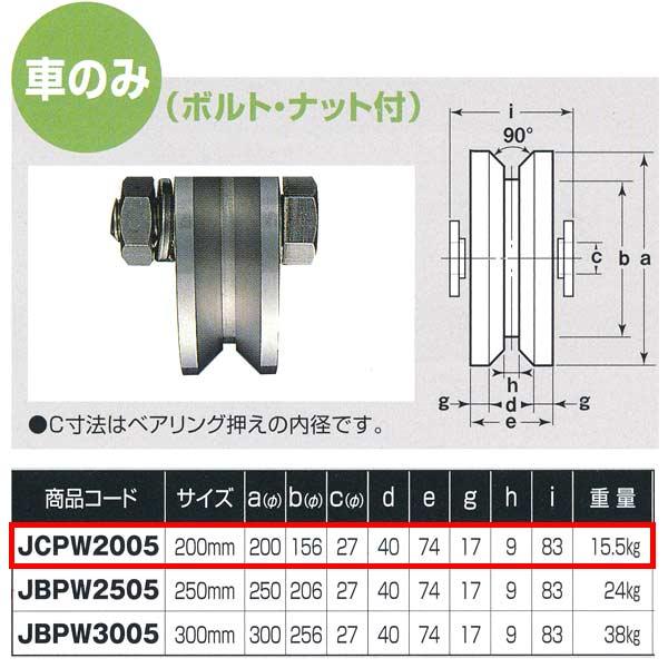 ヨコヅナ ステンレス重量戸車 ワイドタイプ 車のみ V型 JCPW2005 200mm 1個