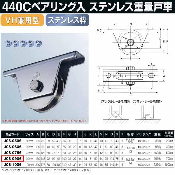 ヨコヅナ 440Cベアリング入 ステンレス重量戸車 VH兼用型 JCS-0906 1個