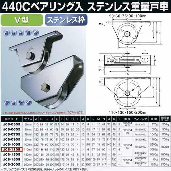 ヨコヅナ 440Cベアリング入 ステンレス重量戸車 V型 JCS-1105 110mm 1個