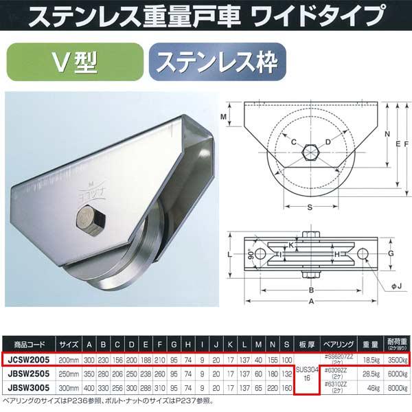 ヨコヅナ ステンレス重量戸車 ワイドタイプ ステンレス枠 V型 JCSW2005 200mm 1個