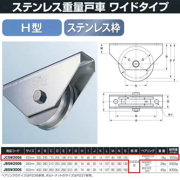 ヨコヅナ ステンレス重量戸車 ワイドタイプ ステンレス枠 H型 JCSW2006 200mm 1個