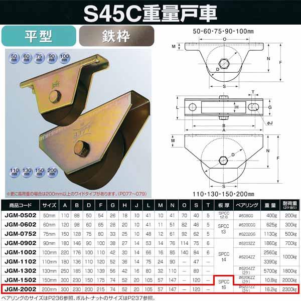ヨコヅナ S45C 重量戸車 鉄枠 平型 JGM-2002 200mm 1個