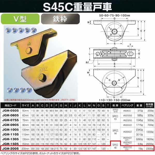 ヨコヅナ S45C 重量戸車 鉄枠 V型 JGM-2005 200mm 1個