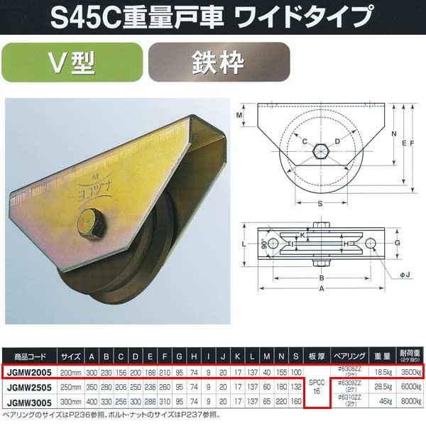 ヨコヅナ S45C重量戸車 ワイドタイプ 鉄枠 V型 JGMW2005 200mm 1個