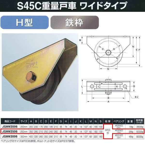 ヨコヅナ S45C重量戸車 ワイドタイプ 鉄枠 H型 JGMW2506 250mm 1個