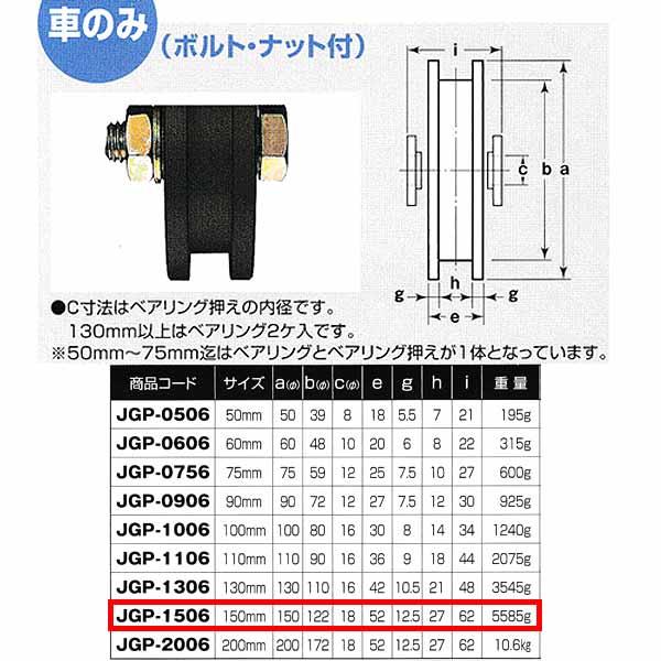 ヨコヅナ S45C 重量戸車 車のみ 鉄枠 H型 JGP-1506 150mm 1個