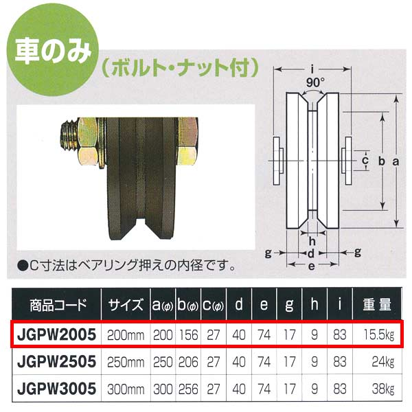 ヨコヅナ S45C重量戸車 ワイドタイプ 車のみ V型 JGPW2005 200mm 1個