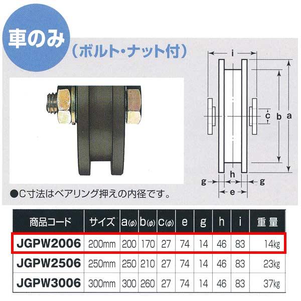ヨコヅナ S45C重量戸車 ワイドタイプ 車のみ H型 JGPW2006 200mm 1個