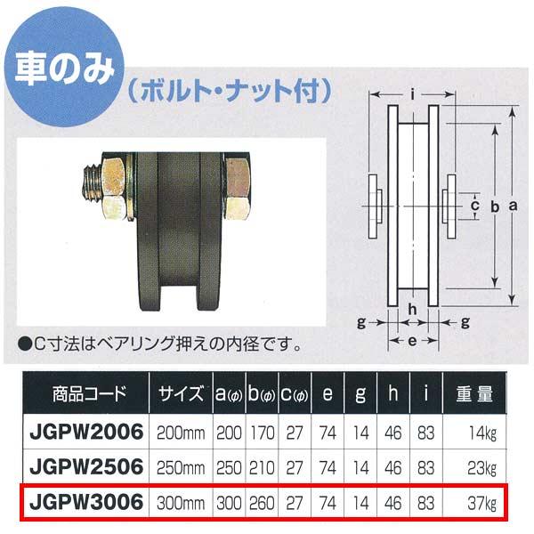 ヨコヅナ S45C重量戸車 ワイドタイプ 車のみ H型 JGPW3006 300mm 1個