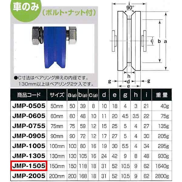 ヨコヅナ MC防音 重量戸車 車のみ ステンレス V型 JMP-1505 150mm 1個