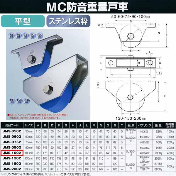 ヨコヅナ MC防音 重量戸車 ステンレス 平型 JMS-1002 100mm 1個