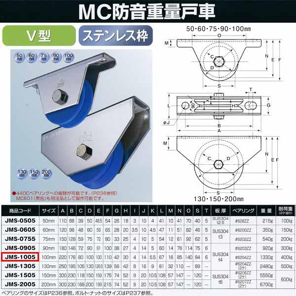 ヨコヅナ MC防音 重量戸車 ステンレス V型 JMS-1005 100mm 1個