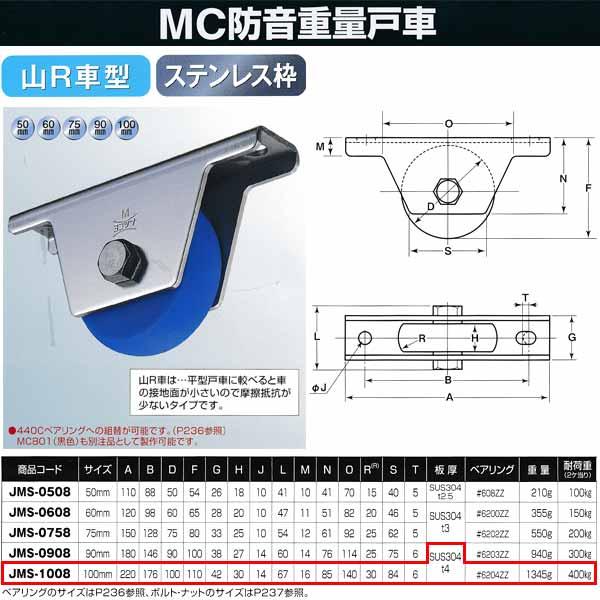 ヨコヅナ MC防音 重量戸車 ステンレス 山R車型 JMS-1008 100mm 1個