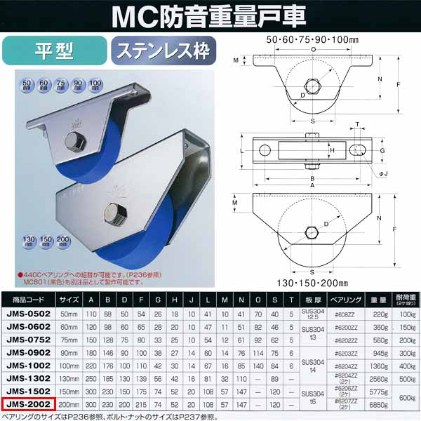 ヨコヅナ MC防音 重量戸車 ステンレス 平型 JMS-2002 200mm 1個