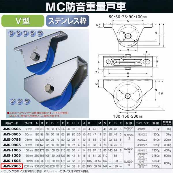 ヨコヅナ MC防音 重量戸車 ステンレス V型 JMS-2005 200mm 1個