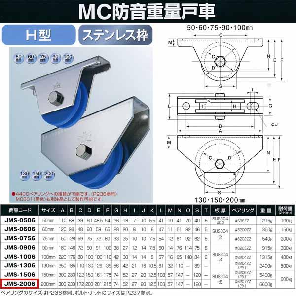 ヨコヅナ MC防音 重量戸車 ステンレス H型 JMS-2006 200mm 1個