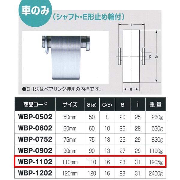 ヨコヅナ ロタ・ステンレス 重量戸車 車のみ ステンレス枠 平型 WBP-1102 110mm 1個