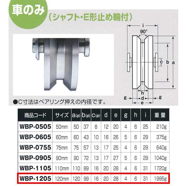 ヨコヅナ ロタ・ステンレス 重量戸車 車のみ ステンレス枠 V型 WBP-1205 120mm 1個