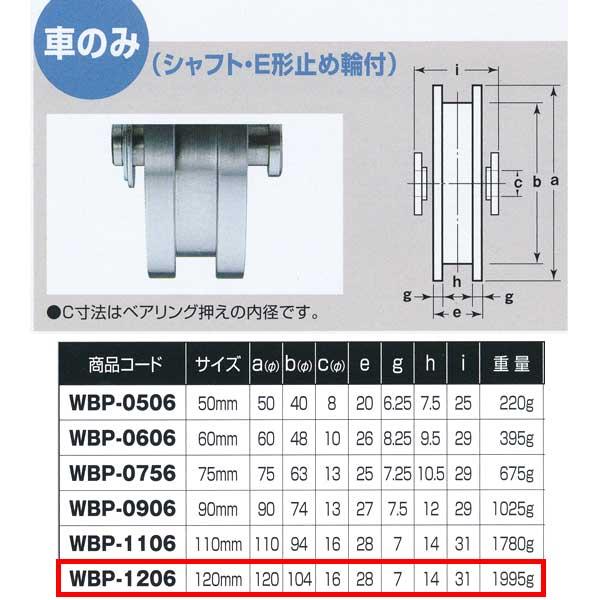 ヨコヅナ ロタ・ステンレス 重量戸車 車のみ ステンレス枠 H型 WBP-1206 120mm 1個