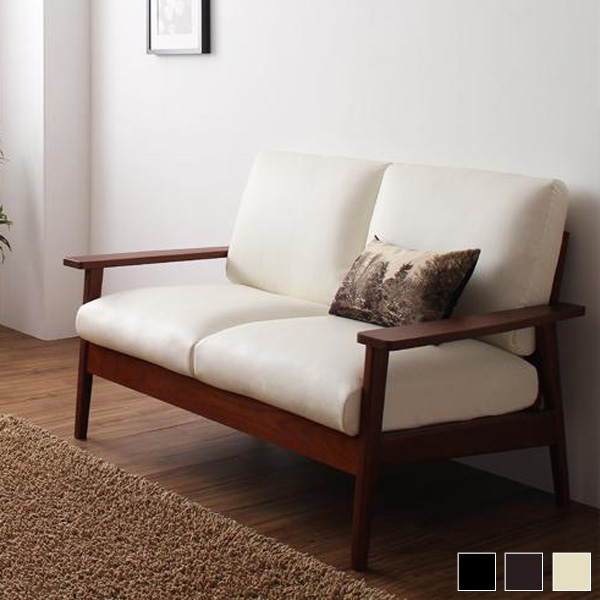 Two Seat Sofa Couch Retro Modern Antique Vintage Two Seat Natural Wood  Design Simple ...