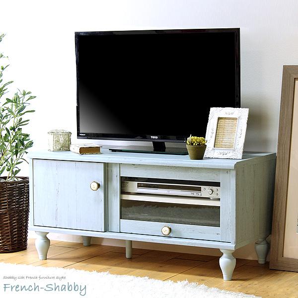 白井産業 ローボード アンティーク風 幅90cm 32型テレビ対応 フレンチシャビー frs-4590fd works
