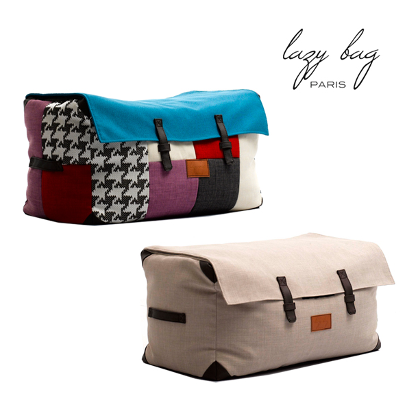 【スーパーセール 6/4 20:00~6/11 1:59】 ファブリックスツール Lazy Bag Paris(レイジーバッグパリス) lazy bag 310-BB ビーズクッション スツール パッチワーク グレー 一部地域 送料無料