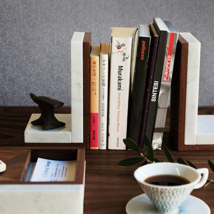 ブックエンド(1個) 天然大理石 ウォールナット無垢材 日本製