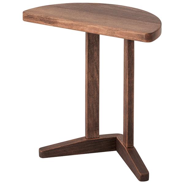 桜屋工業 サイドテーブル 木製 ナイトテーブル 幅50cm 半円型 シンプル ナチュラル 北欧 LT-72 リビングテーブル ウォールナット色 送料無料
