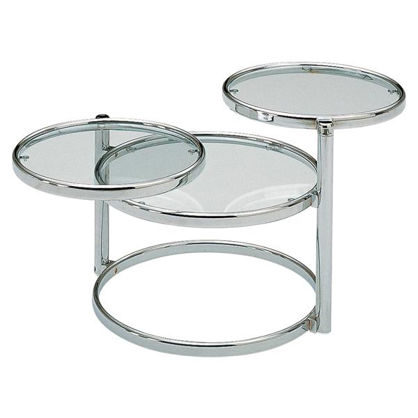 【お買いものマラソン 4/9 20:00~4/16 1:59】 桜屋工業 センターテーブル ローテーブル 強化ガラス スチール製 3段 丸型 円形 シンプル モダン LT-77 リビングテーブル 2つ以上で送料無料