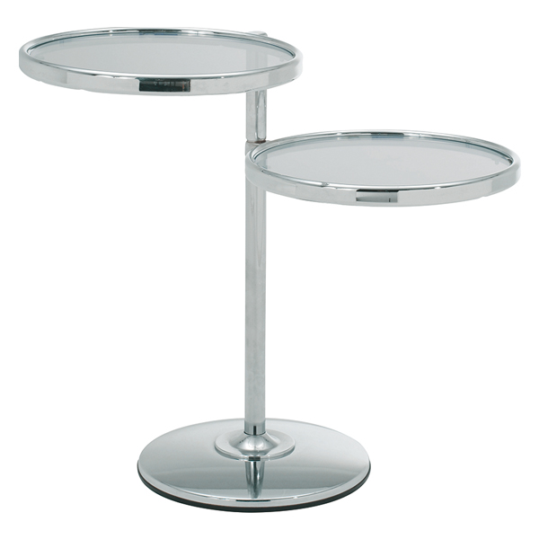 【お買いものマラソン 4/9 20:00~4/16 1:59】 桜屋工業 サイドテーブル 2段 強化ガラス スチール製 幅40cm シンプル モダン 円形 丸型 LT-79 リビングテーブル 2つ以上で送料無料