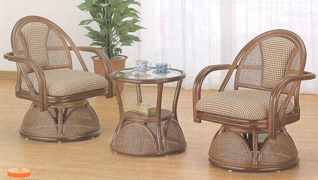 【Romantic Rattan】【籐(ラタン)家具】籐リビング3点セット Y555B