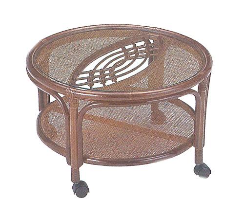 【スーパーセール 6/4 20:00~6/11 1:59】 Romantic Rattan 籐(ラタン)家具 籐テーブル丸型 T43B 送料無料
