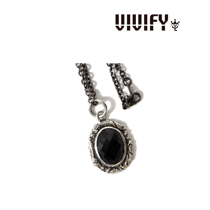VIVIFY(ヴィヴィファイ)Ivied Frame Stone Setting Necklace/CheckerCutOnyx【送料無料】【VIVIFY(ヴィヴィファイ) ペンダントトップ】【VFN-151】