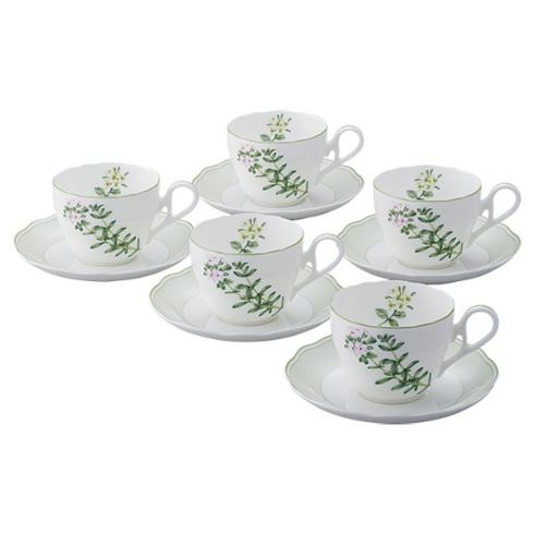 【Noritake(ノリタケ)】(イングリッシュハーブス) ティー・コーヒー碗皿セット (5客) (タイム)