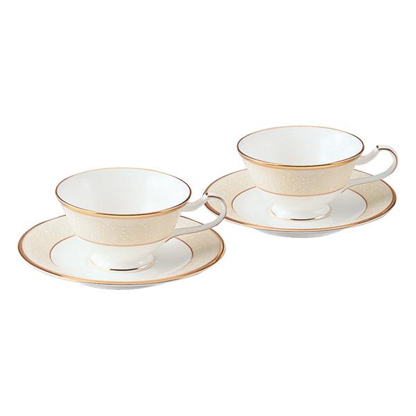 【Noritake(ノリタケ)】(ホワイトパレス) ティー・コーヒー碗皿ペアセット