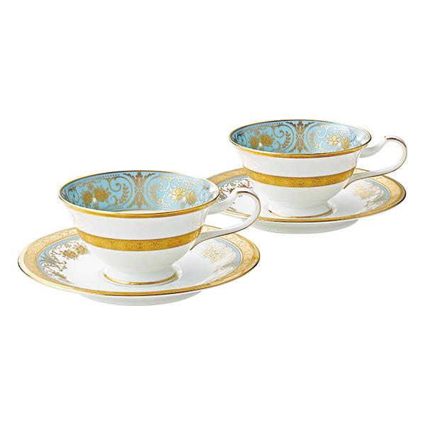 【Noritake(ノリタケ)】(ジョージアンターコイズ) ティー・コーヒー碗皿ペアセット
