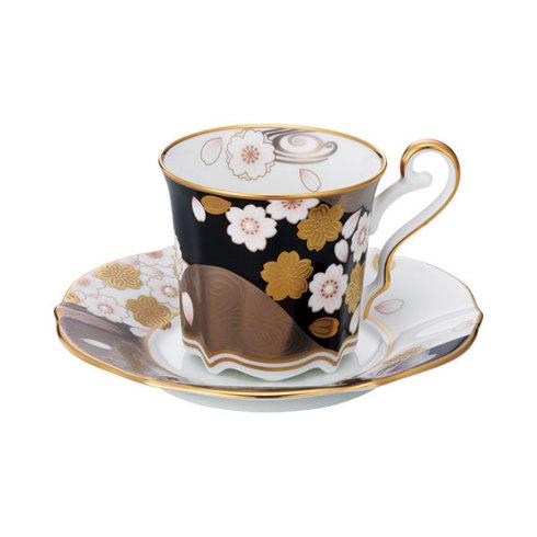 【Noritake(ノリタケ)】(あやみなも) ティー・コーヒー碗皿 (夜桜金銀彩)
