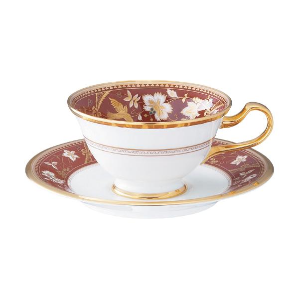 【Noritake(ノリタケ)】(サブライム) ティー・コーヒー碗皿 (海老茶)