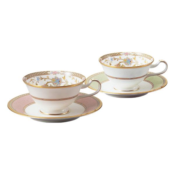 【Noritake(ノリタケ)】(ヨシノ) ティー・コーヒー碗皿ペアセット (グリーン・ピンク)