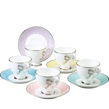 【NARUMI(ナルミ) フェリシータ】 5客アソートコーヒー碗皿 【ギフト・贈り物・婚礼引出物・内祝い・出産内祝い・内祝】