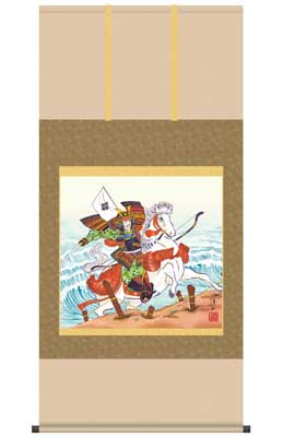 【送料無料】【2013年新作】 掛け軸(端午の節句) 馬上武者(尺八横)/宇崎洋山
