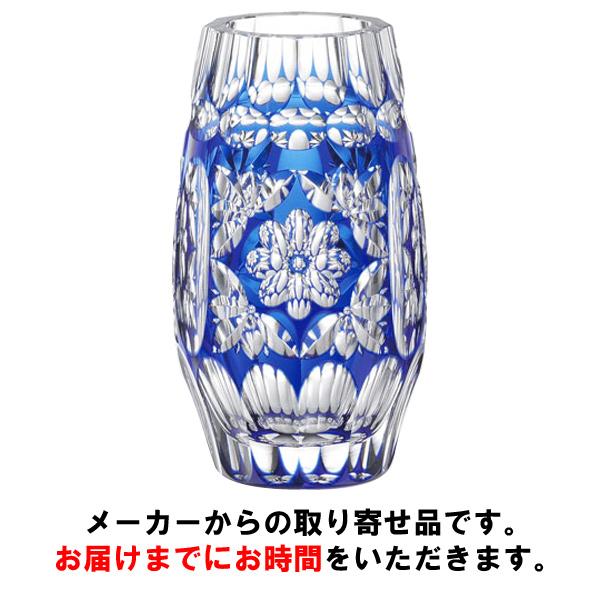 【カガミクリスタル】 【伝統工芸士 篠崎清一】 〈彩花紋〉 花瓶