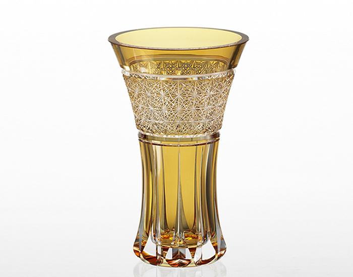 【カガミクリスタル】 【伝統工芸士 根本達也】 〈篝火〉 花瓶 (黄)