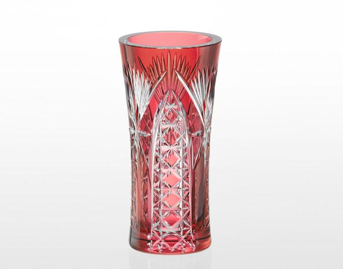 【カガミクリスタル】 江戸切子 〈笹っ葉に四角籠目 紋〉 花瓶 (赤)