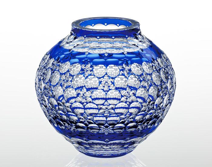 【カガミクリスタル】 江戸切子 【伝統工芸士 篠崎 英明】 〈玉舞〉 花器